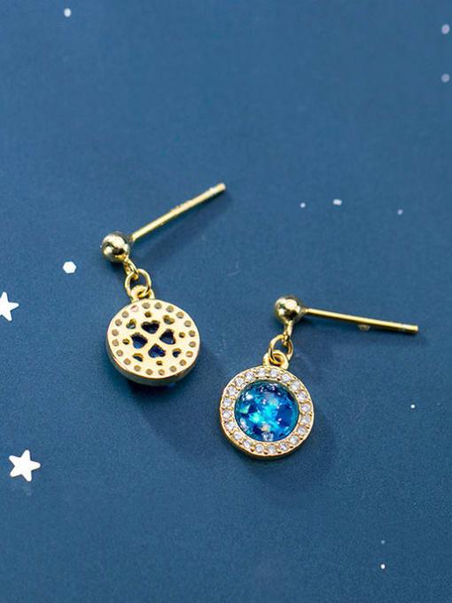 Rosh 925 Sterling Silver Cubic Zirconia Blue Geometric Minimalist Stud Earring 2