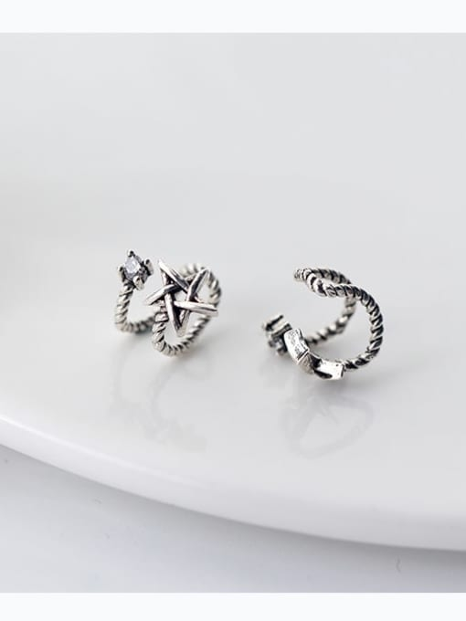 Rosh 925 Sterling Silver Retro thread double layer Pentagram Ear clip without pierced ears 0