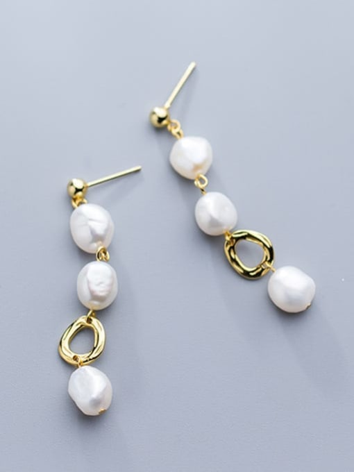 Rosh 925 Sterling Silver Imitation Pearl  Round Trend Drop Earring 1