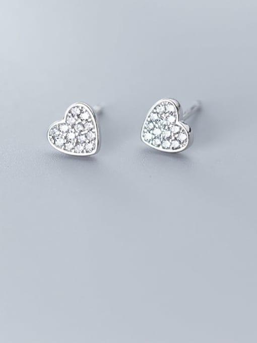 Rosh 925 Sterling Silver Cubic Zirconia White Heart Cute Stud Earring 0