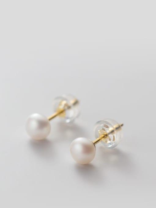 White Pearl Earrings Gold5 -6mm 925 Sterling Silver Freshwater Pearl  Round Minimalist Stud Earring