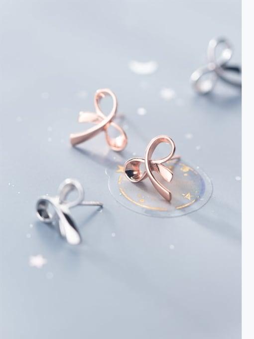 Rosh 925 Sterling Silver   Minimalist  Flowers Stud Earring 1