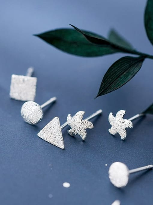 Rosh 925 Sterling Silver Smooth Geometric Minimalist Stud Earring 1