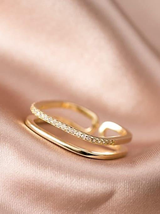 Rosh 925 Sterling Silver Rhinestone  Geometric Minimalist Free Size Band Ring