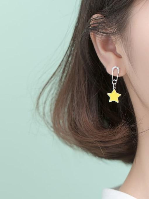 Rosh 925 Sterling Silver Rhinestone Yellow Star Trend Huggie Earring 1