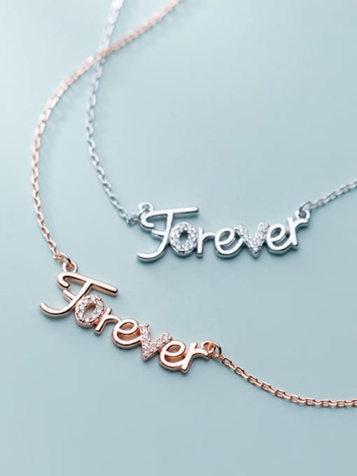 Rosh 925 Sterling Silver Rhinestone White Letter Cute Necklace 2