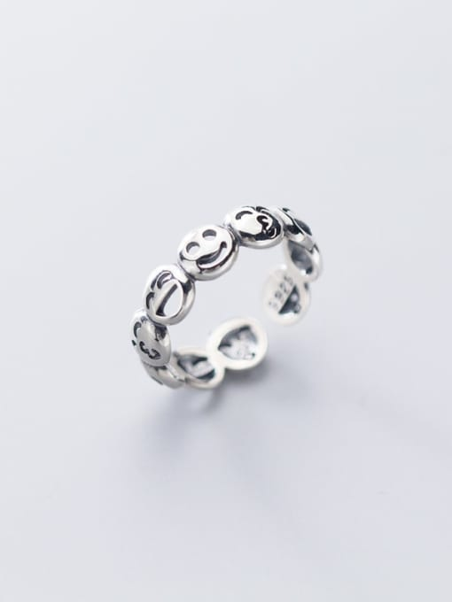 Rosh 925 Sterling Silver  Vintage  Smiley Free Size Ring 1