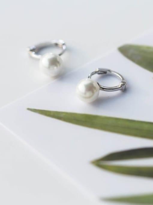 Rosh 925 Sterling Silver Imitation Pearl Round Minimalist Huggie Earring