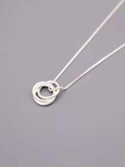 Rosh 925 Sterling Silver Minimalist  Simple fashion three-layer round pendant Necklace 2