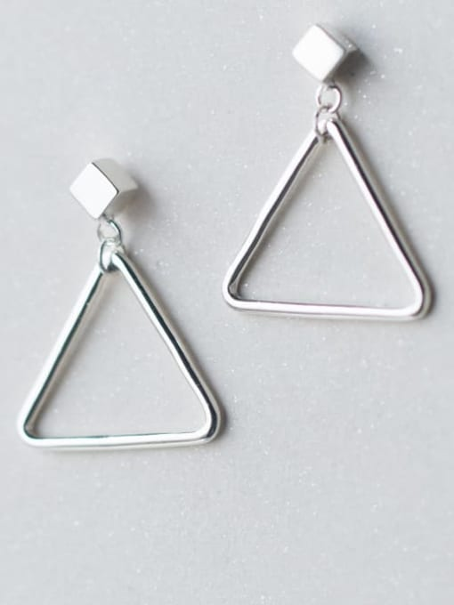 Rosh 925 Sterling Silver Hollow Triangle Minimalist Drop Earring 0