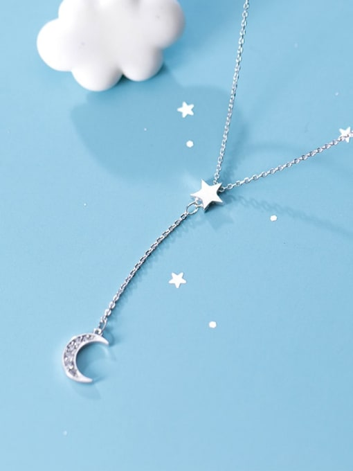 Rosh 925 Sterling Silver  Minimalist Simple and stylish diamond  moon Y-shaped star necklace