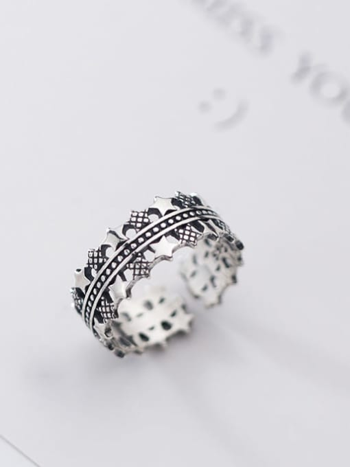 Rosh 925 sterling silver star vintage free size  ring 0