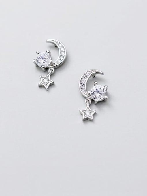 Rosh 925 Sterling Silver Cubic Zirconia  Star Moon Dainty Stud Earring 3