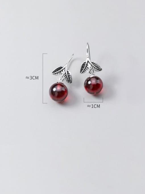 Rosh 925 Sterling Silver Garnet Red Leaf Vintage Hook Earring 3