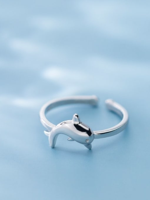 Rosh 925 Sterling Silver  Cute  Dolphin  Free Size Ring 1