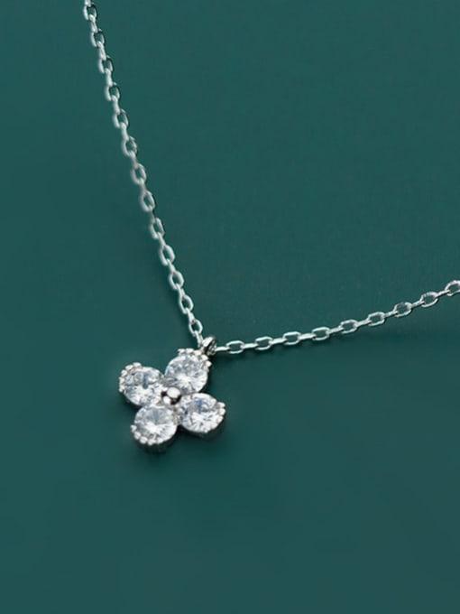 Rosh 925 Sterling Silver Minimalist Cubic Zirconia  Flower  Necklace 1