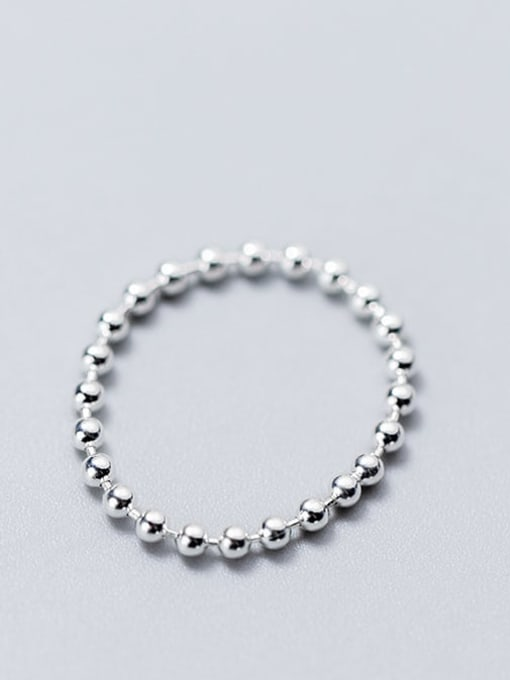 Rosh 925 Sterling Silver Minimalist Round  Bead Free Size Ring 1