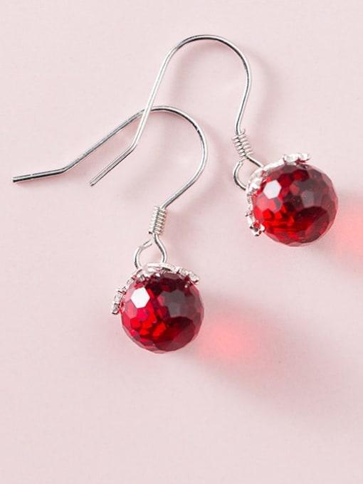 Rosh 925 Sterling Silver  Red Ball Vintage Hook Earring 1