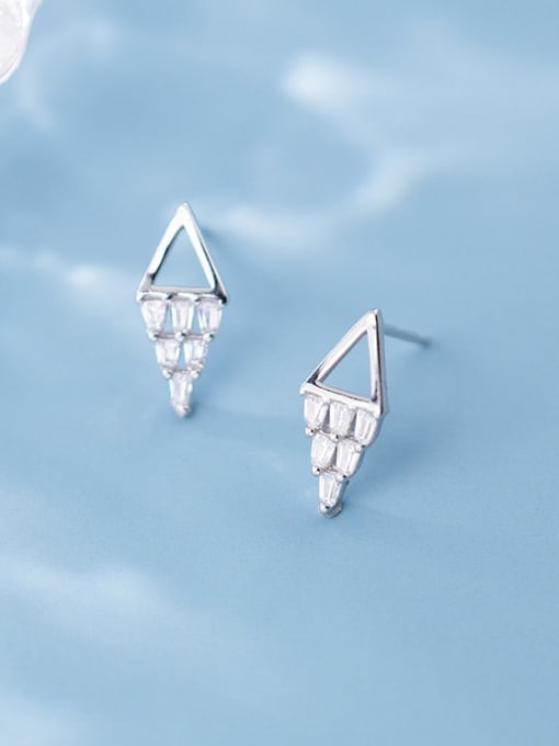 Rosh 925 sterling silver square  cubic zirconia  minimalist stud earring 2