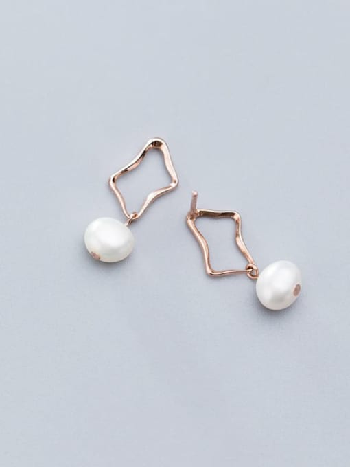 Rosh 925 Sterling Silver Imitation Pearl Hollow Geometric Minimalist Drop Earring 2