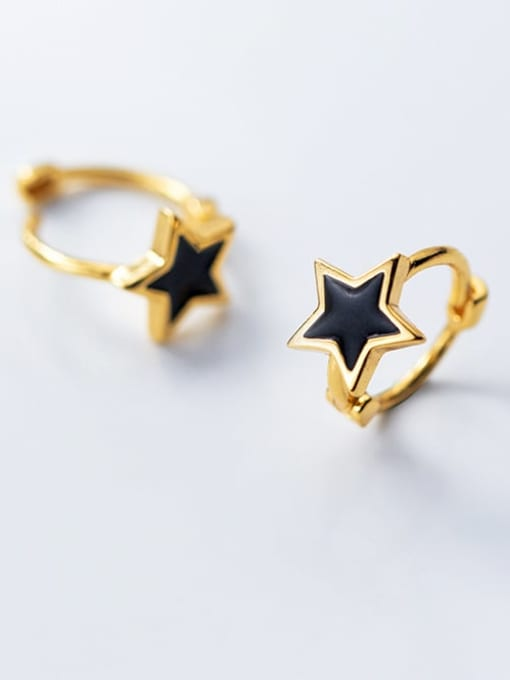 Rosh 925 Sterling Silver Black Enamel Star Minimalist Huggie Earring
