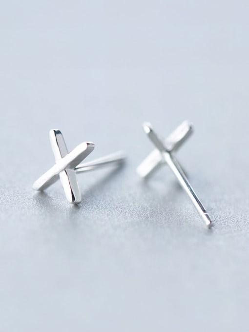 Rosh 925 Sterling Silver Smooth Cross Minimalist Stud Earring 2
