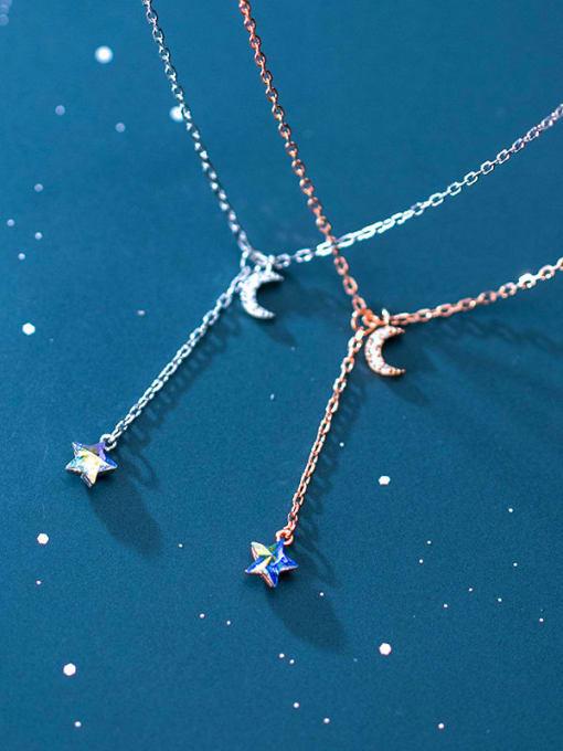 Rosh 925 Sterling Silver  Minimalist Fashion  Diamond  Moon  Lariat Necklace 1