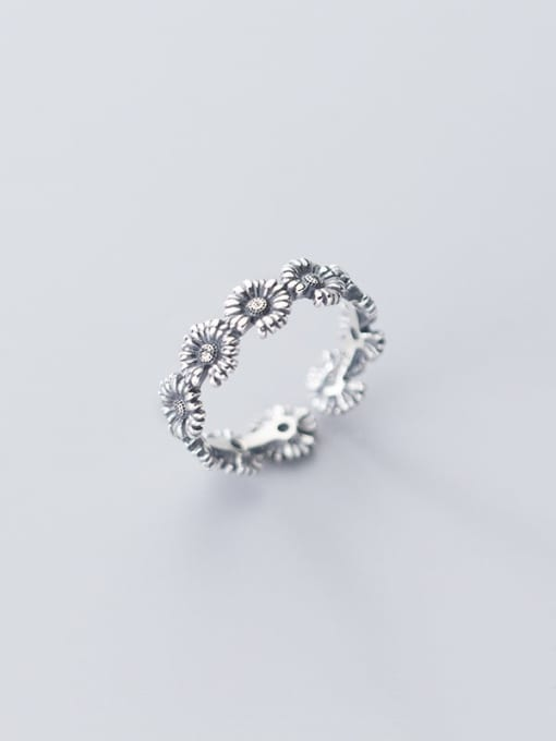Rosh 925 Sterling Silver Flower Vintage Free Size Band Ring