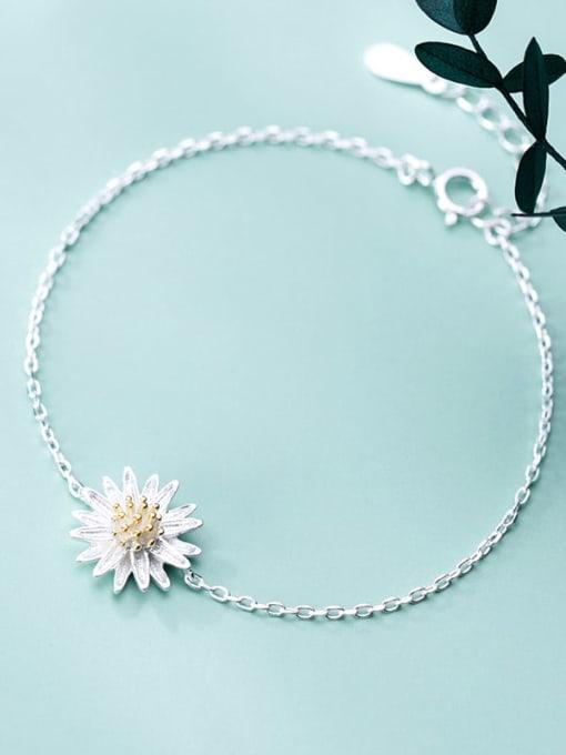Rosh 925 Sterling Silver Flower Minimalist Link Bracelet 1