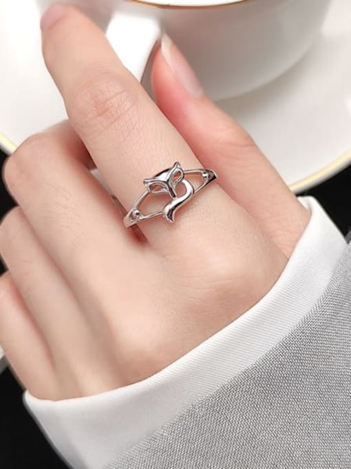 Rosh 925 Sterling Silver Hollow Fox Cute Free Size Ring 1