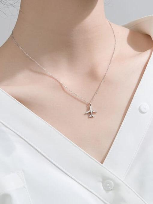 Rosh 925 Sterling Silver Rhinestone  Minimalist Fashion diamond plane pendant Necklace 1