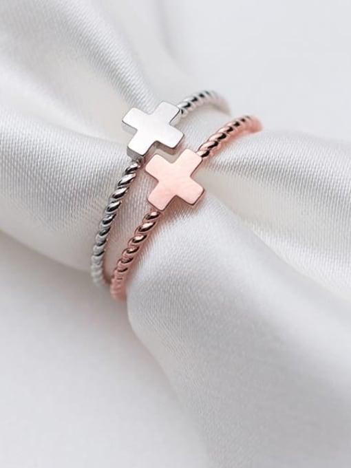Rosh 925 Sterling Silver  Minimalist  Fashion Cross Couple Band Ring 0