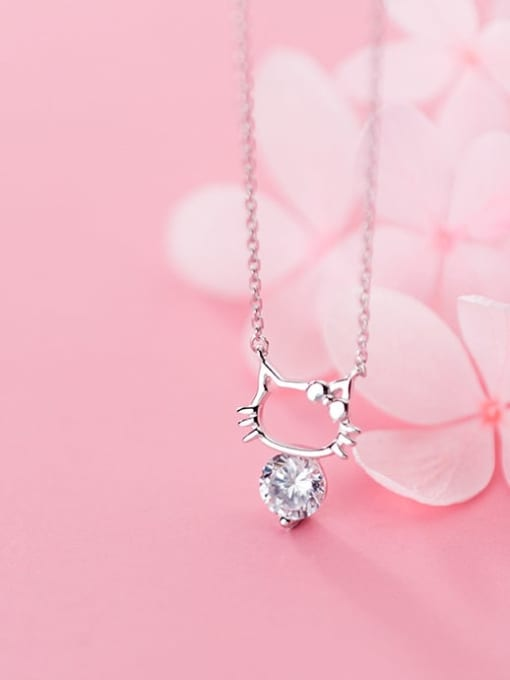 Rosh 925 Sterling Silver Cubic Zirconia Fashion Cute Hollow Cat Necklace
