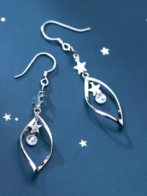Rosh 925 Sterling Silver Cubic Zirconia  Irregular Trend Hook Earring 0