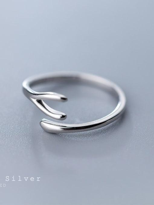 Rosh 925 Sterling Silver Irregular Minimalist Free Size Band Ring 3