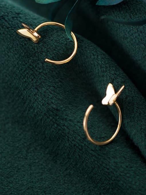 Rosh 925 Sterling Silver Butterfly Minimalist Huggie Earring 1
