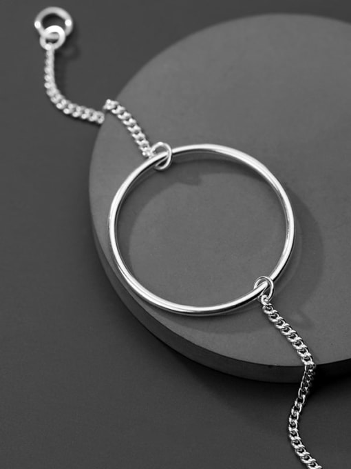Rosh 925 Sterling Silver Simple hollow Round Chain  Bracelet