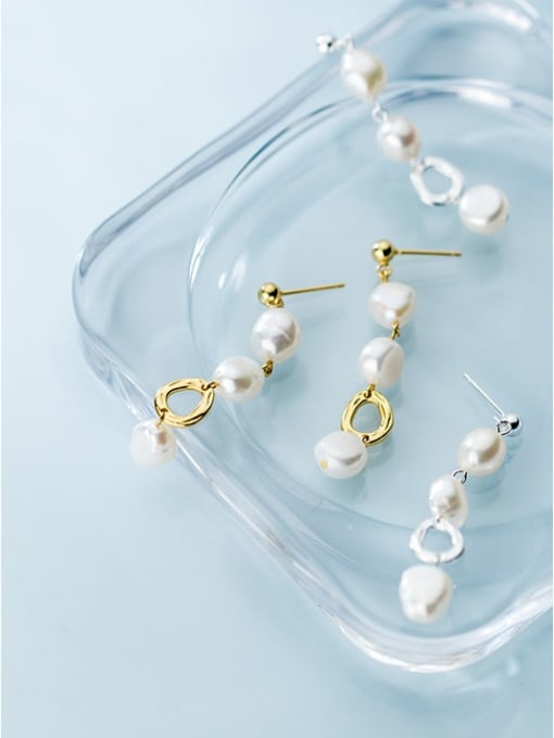 Rosh 925 Sterling Silver Imitation Pearl  Round Trend Drop Earring