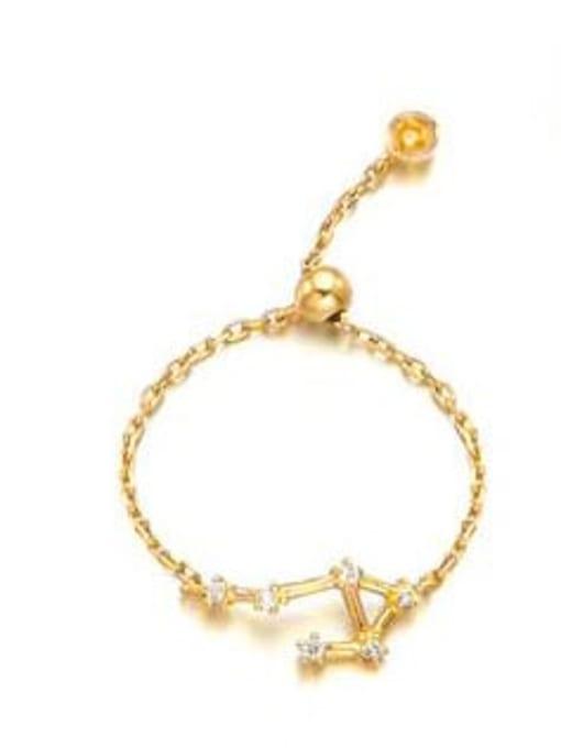 Libra 925 Sterling Silver Cubic Zirconia twelve  Constellation Minimalist Band Ring