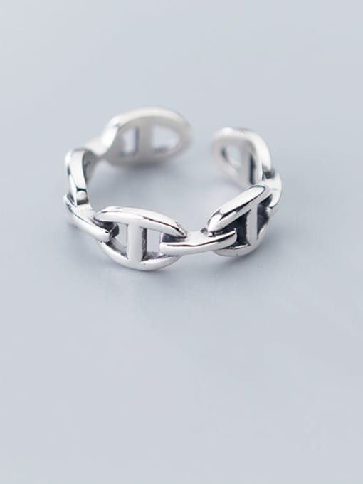 Rosh 925 Sterling Silver Retro Hollow Geometric Ethnic Free Size Ring 1