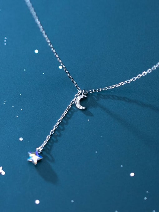 Rosh 925 Sterling Silver  Minimalist Fashion  Diamond  Moon  Lariat Necklace 2