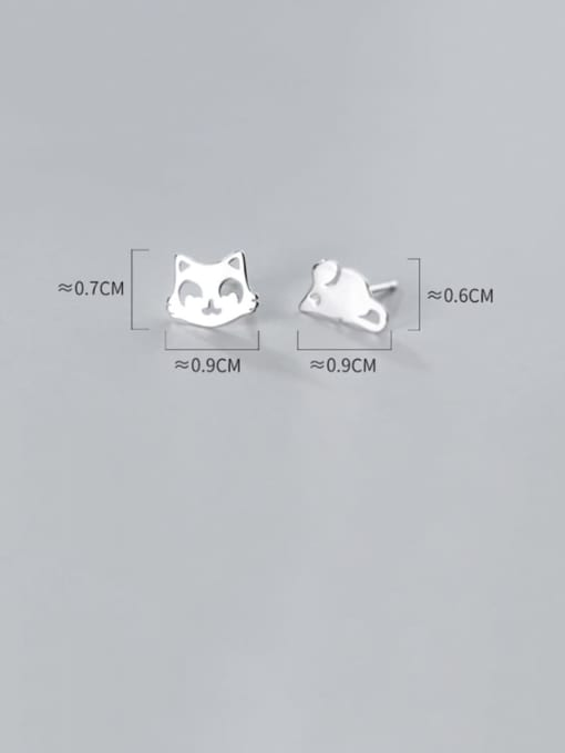 Rosh 925 Sterling Silver Minimalist  Cat mouse Asymmetry Stud Earring 3