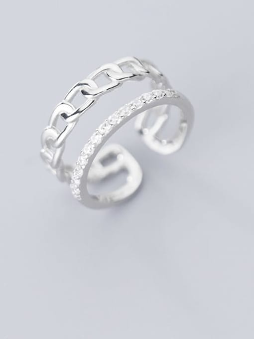 Rosh 925 Sterling Silver Minimalist Diamond personality chain double layer Free Size Ring 1