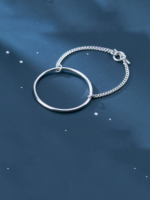 Rosh 925 Sterling Silver Simple hollow Round Chain  Bracelet 1