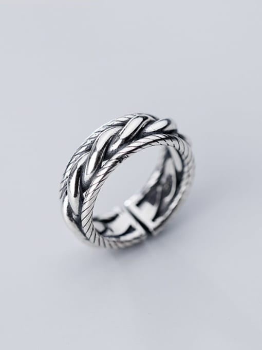 Rosh 925 Sterling Silver Retro spiral multilayer glossy Free Size Ring 1