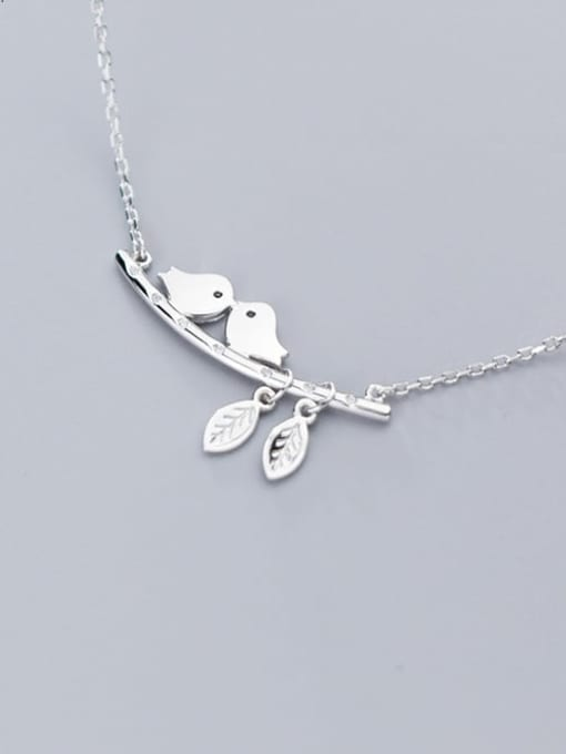 Rosh 925 Sterling Silver Cute twig bird Necklace 2