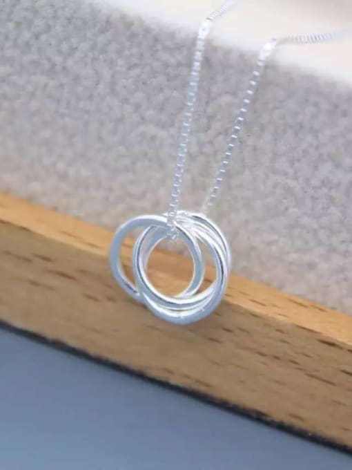 Rosh 925 Sterling Silver Minimalist  Simple fashion three-layer round pendant Necklace 3