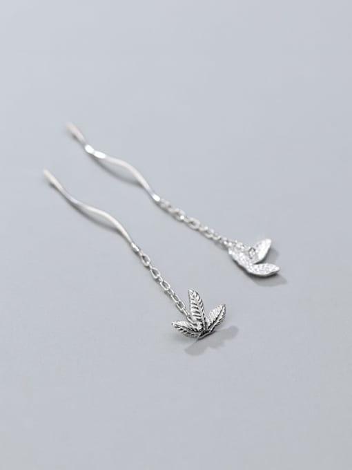 Rosh 925 Sterling Silver Rhinestone  Leaf Minimalist Threader Earring 2