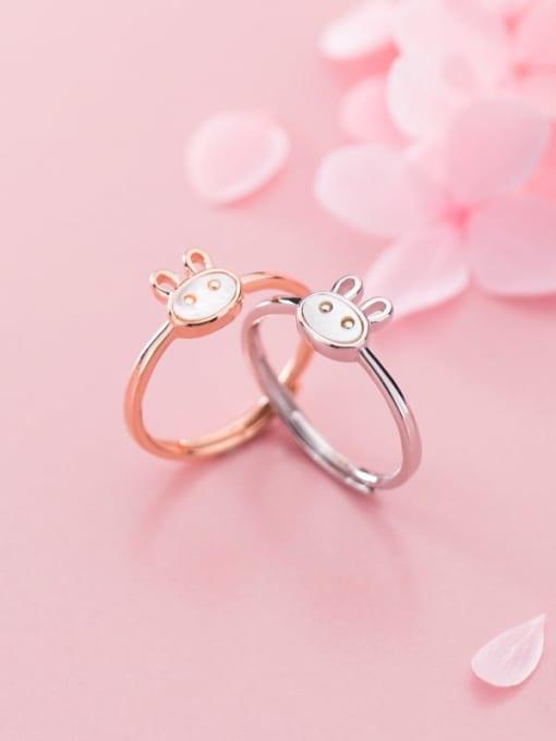 Rosh 925 Sterling Silver  Cute  Fashion cute shell rabbit free size Ring 3