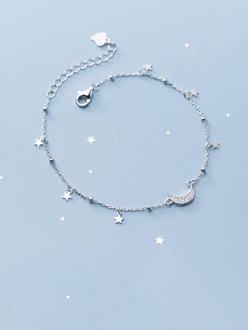 Rosh 925 Sterling Silver  Minimalist  Star Moon Link Bracelet